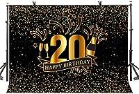 HD 10x7ft誕生日背景ハッピー20歳の誕生日の写真撮影の背景金色のキラキラをテーマにしたパーティーの装飾写真撮影小道具LYZY03010