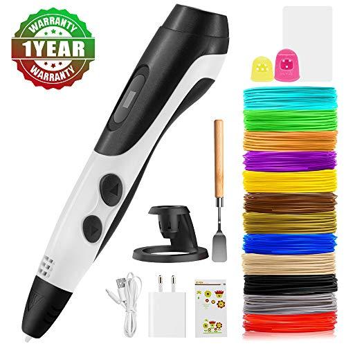 3D Stifte, 3D-Zeichnungs Stifte Kits mit Halter,Vorlage Finger Safty LCD-Bildschirm,Doodler-Stift, 18 Farben PLA-Filaments für Kinder Adult DIY, 3-Geschwindigkeit verstellbares, nicht verstopfen