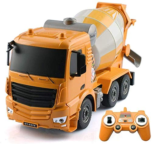 lqgpsx Yellow Body Four-Wheel Drive Rc Car Engineering Remote Control Mixer Tanker Sound and Light High 1:26 Full Effect Construction Toy Best Gift for Boys & Girls 3 Years Old and Up