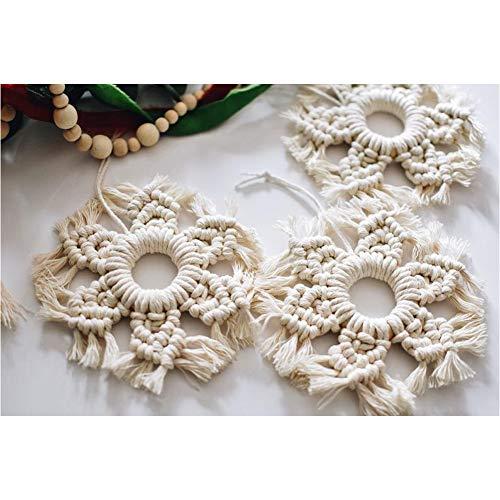 EBINGMIMA Set of 3 Macrame Snowflake Wall Hanging Boho Home Decor Holiday Home Nursery Decoration Wedding Party Decorations