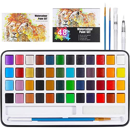 Buluri Caja de acuarelas,48 colores juego de pintura de acuarela+2 plumas de gancho de línea + 2...