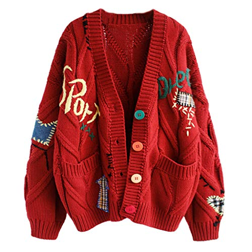 JHD Mujeres Otoño Crochet Cárdigan de Punto Manga Larga Botones Coloridos Suéter Abrigo Letras Bordado Parches Vintage Chaqueta Suelta Outwear con Bolsillos