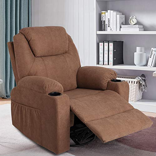 MAGIC UNION Fabric Massage Recliner Chair Rocking and 360°Swivel Heated Ergonomic Living Room Lounge Chair Single Sofa with 2 Cup Holders and Side Pockets Wireless Remote Control (Fabric+Brown)