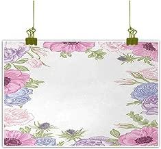 Mannwarehouse Anemone Flower Living Room Decorative Painting Hand Drawn Framework with Fresh Summer Flora Bridal Wedding Theme Modern Minimalist Atmosphere 35