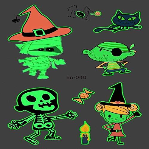 5pcs Tatuaggio di Halloween per Bambini incandescente Scuro Impermeabile Finto Tatuaggio Adesivi Tatuaggio Luminoso Art Cartoon Tatto En-040 12 x 7.5 CM