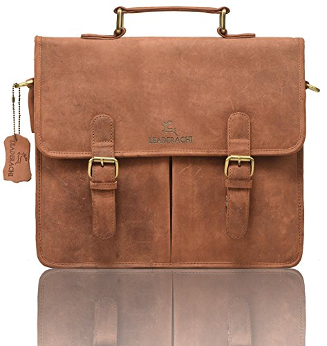 LEADERACHI Hunter 30 Litre Leather Brown Laptop Briefcase Bag