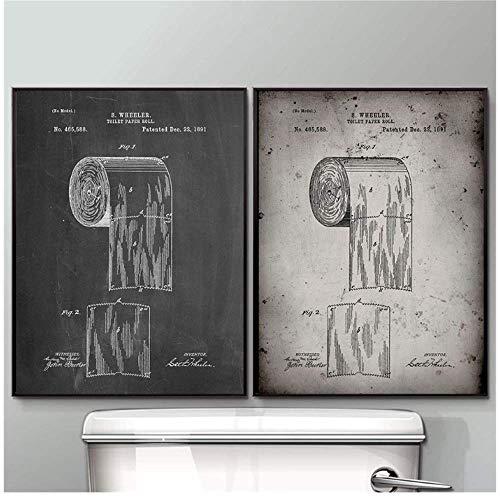 RuiChuangKeJi kunstposter toiletpapier kunstposter wc-kunst canvasdruk Nordic stijl badkamer huis kamer kunst wanddecoratie 2x60x80cm(23.6x31.5in) met frame