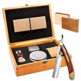 Amazing Straight Razor Kit - Best Straight Razor,Shave Ready Straight Edge Razor,Brush,Strop + Soap,Japanese Steel + Biblical Wood Straight Razor for Men,Complete Straight Razor Shaving Kit,Great Gift