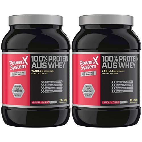 Power System 100% Protein aus Whey 2 x 600 g Molkenprotein Eiweiss-Pulver (Vanille)