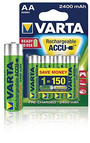 Varta Ready To Use wiederaufladbarer Mignon NiMh Akku vorgeladen AA (4er Pack, 2400mAh, sofort einsatzbereit)