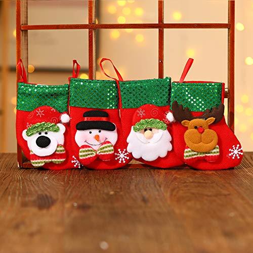 Queta 6pcs Calcetines Navideños para Regalos Dulces Caramelos, Bolsas de Regalo Sacos Decorativos para Decoración de Árbol de Navidad 6 Dibujos 16x12x10cm
