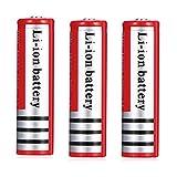 18650 Batería Batería Recargable 18650 4200 mAh 3,7 V BRC Li-Ion Litio-Ion 1200 ciclos 18650 Pilas Recargables Celda linternas Faros Delanteros, 66 x 18 mm, Rojo (Cantidad: 3)