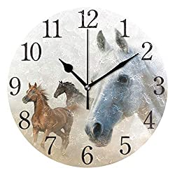 senya Wall Clock Silent 9.5 Inch Battery Operated Non Ticking Love Couple Round Decorative Acrylic Quiet Clocks for Bedroom Office School Home by domook (2 Horses)