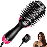 Homipooty Hair Dryers Brush, 3 in 1 Hot Air Brushes Brush for Blowing, Straightening, Curling with ALCI Safety Plug One Step Hair Dryer & Volumizer Negative Ionic Technology for All Type Hair(Black)