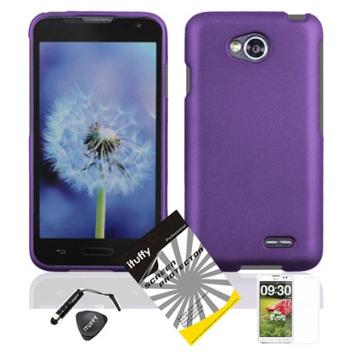 4 items Combo: ITUFFY (TM) LCD Screen Protector Film + Mini Stylus Pen + Case Opener + Design Rubberized Snap on Hard Shell Cover Faceplate Skin Phone Case for Prepaid Android Smartphone LG Optimus L70 MS323 Metro Pcs / LG Realm LS620 Boost Mobile / LG Optimus Exceed 2 Verizon (Solid Purple)