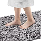 Bathroom Rugs,Soft and Fluffy Non-Slip Bathroom Mat,Machine Washable,Quick-Drying Bath Mat, (31x20 inch Gray)