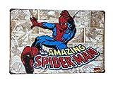 Enseignes en Métal De Style Affiche Vintage sur Le Thème De Marvel, Accessoires Rétro pour Caves Et Cuisines pour Hommes (Amazing Spider-Man)