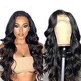 Peluca frontal de encaje con ondas corporales, pelucas de cabello humano con frente de encaje para mujeres negras, peluca frontal de encaje transparente HD, 26 pulgadas, 360 marrón medio