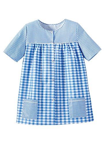 Ezi Women's Snap Front Gingham Shift Seersucker Top Shirt Apron,Blue,L
