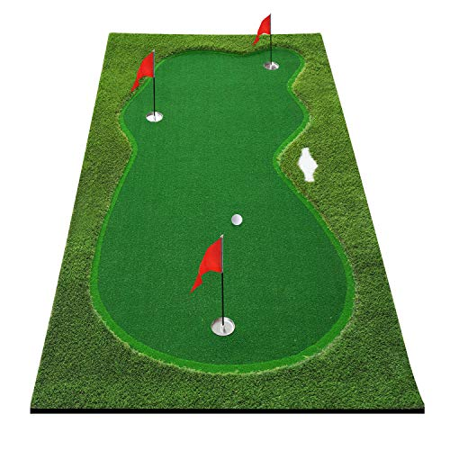 BOBURN Golf Putting Green/Mat-Golf Training Mat- Professional Golf Practice Mat- Green Long Challenging Putter for Indoor/Outdoor (5x10ft Green)