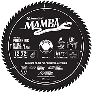 Amana Tool Mamba Series MA12072 Finishing Compound Miter 12-Inch x 72 Tooth x ATB+F Grind 1-Inch Bore Saw Blade