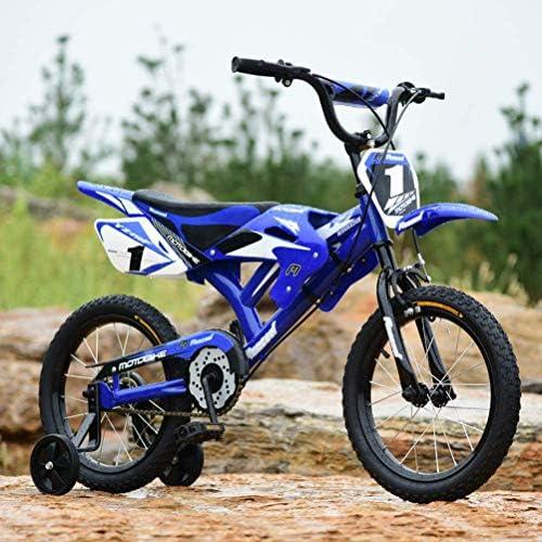 BSTQC Bicicleta para ni/ños 16 pulgadas dise/ño de moto unisex para ni/ños con guardabarros y freno en V