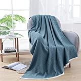 SE SOFTEXLY 100% Cotton Blanket, Soft Lightweight Breathable Blue Throw Blanket for Couch Bed Sofa, 3-Layer Cozy Woven Thermal Gauze Muslin Throw Blankets for Adults All Season(Vintage Blue, 50'x60')