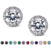 SWEETV Cubic Zirconia Stud Earrings, 10mm Round Cut, Rhinestone Hypoallergenic Earrings for Women & Girls