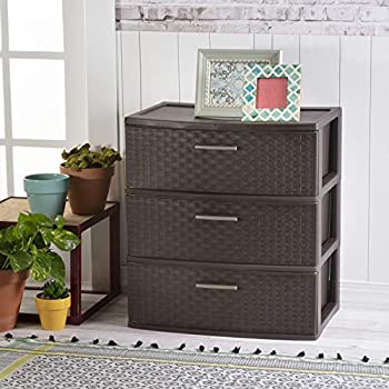Sterilite 25306P01 3 Drawer Wide Weave Tower Espresso Frame & Drawers w/ Driftwood Handles 1-Pack