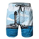 QUKEFU Bañador de Hombre,Imagen Vectorial de la ilustración en Color del Faro Cubierta de Etiqueta de Marca de mar de la Costa,Natación Secado Rápido Pantalones Cortos Shorts de Playa para Swim 3XL