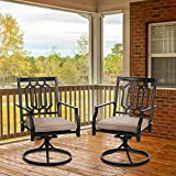 MFSTUDIO Outdoor Swivel Chairs Set of 2, Iron Metal Patio Dining Chairs with Cushion,Furniture Sets for Garden Backyard Rocker Chairs