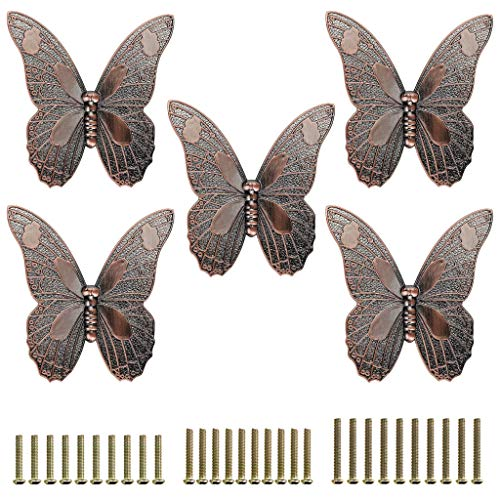 JuxYes Pack of 5 Vintage Butterfly Cupboard Door Knobs, Antique Drawer Pulls Retro Decorative Cabinet Handle Knobs for Dresser Drawer Cabinet Closet