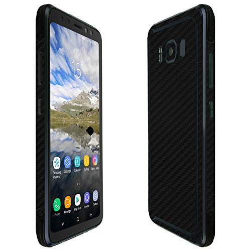 Skinomi Black Carbon Fiber Full Body Skin Compatible with Galaxy S8 Active (Full Coverage) TechSkin with Anti-Bubble Clear Film Screen Protector