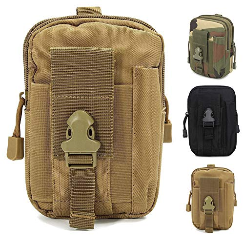 ZhaoCo Taktische Hüfttaschen, Nylon Militär Kompakt MOLLE EDC Tasche Gürteltasche Beutel Taille Taschen für Gadget-Dienstprogramm Handy Camping Wandern und Reisen - Khaki