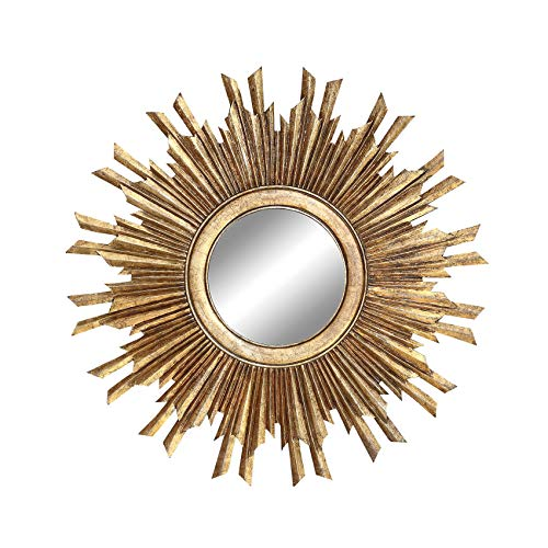 Creative Co-Op Round Sunburst Wall Mirror with Gold Finish