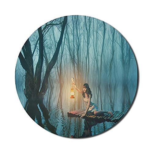 Gothic Mouse Pad für Computer, Märchenfrau mit Laterne schwimmt auf See Rustikales Kleid im Nebelwald, rundes rutschfestes dickes Gummi Modern Gaming Mousepad, 8 'rund, türkisfarbener Pfirsich