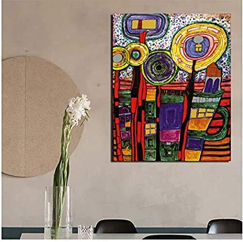 VGSD® Poster Bilder Friedensreich Hundertwasser Kunst Leinwand Gemälde Druck, Moderne Wandkunst Ölgemälde, Wohnkultur 50X70Cm
