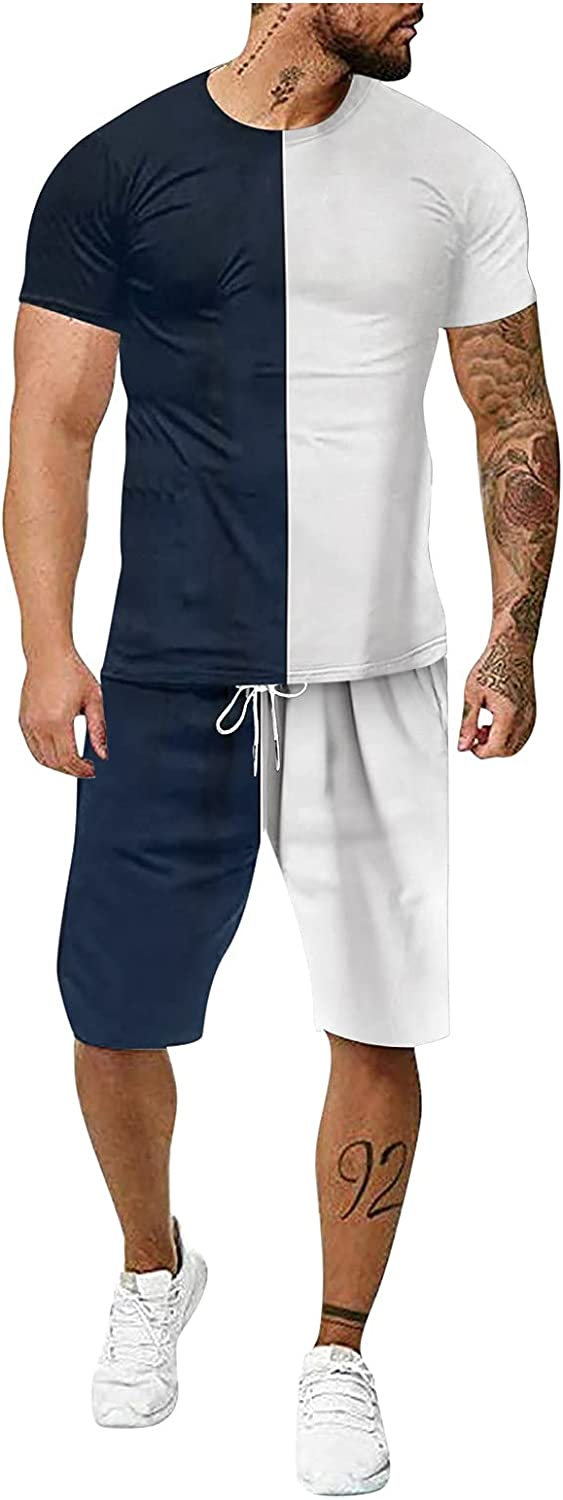 SSDXY Sports Set for Men Casual 2 Piece Summer Tracksuit Tie Dye