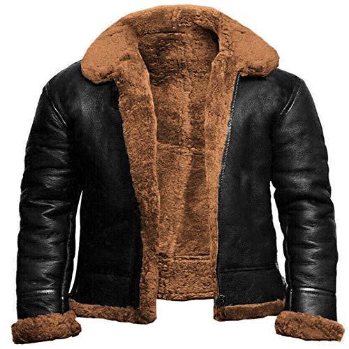N\P Chaqueta de invierno para hombre de piel sintética cuello Abrigos gruesos cálidos de los hombres de la motocicleta chaqueta a prueba de viento de cuero