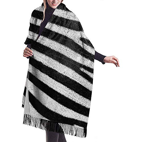 Bufanda con flecos de camuflaje de cebra para mujer, cachemira, cálida y elegante, bufanda envolvente para otoño invierno