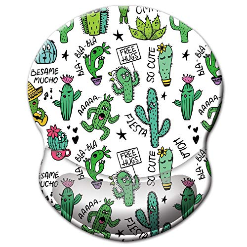 ITNRSIIET Mouse Pad, Ergonomic Mouse Pad with Gel Wrist Rest Support, Gaming Mouse Pad with Lycra Cloth, Non-Slip PU Base for Computer, Laptop, Home, Office & Travel,Cute Cactus with White Design