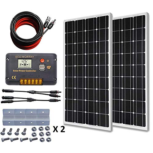 ECO-WORTHY Monocrystalline Solar Panel 200w Off Grid Power kit W/ 20A LCD Charger