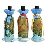 Sacs fourre-tout à bouteille de vin de Noël tortue - 3pcs sacs de vin rouge cadeau pour décor de table de cuisine d'hôtel de fête