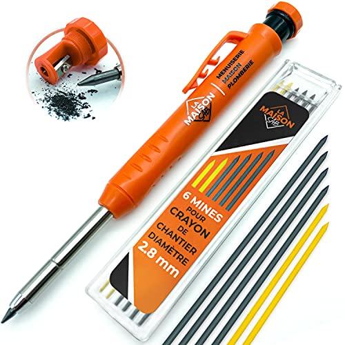 Crayon Chantier SOLIDE et EXTENSIBLE [+ INCLUS 7 MINE Multi-Supports + Taille Mine] Porte Mine pour Menuisier Grasse Bricolage Outillage Dessin Tracer Gras Bois Metal Béton Carrelage Charpentier
