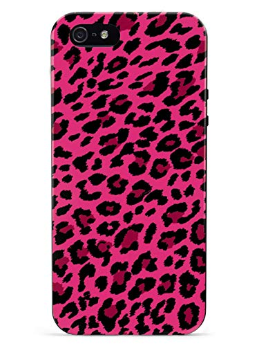 Inspired Cases - 3D Textured iPhone 5/5s/5SE Case - Rubber Bumper Cover - Protective Phone Case for Apple iPhone 5/5s/5SE - Pink Leopard Print Pattern