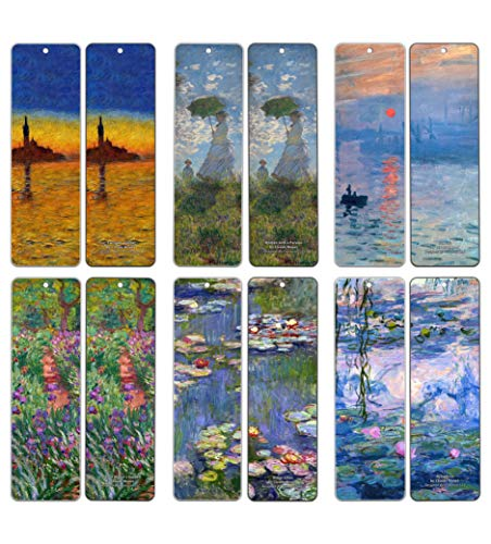 Creanoso Claude Monet Bookmarks (12 Packs) - Famous Paintings Water Lilies - Bookmarks for