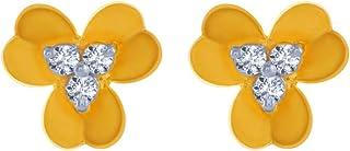 P. C. Chandra Jewellers 14k (585) Yellow Gold and American Diamond Stud Earrings for Women
