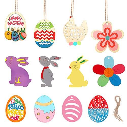 48PCS Pasqua legno, Ciondolo pasquale, Albero di pasqua in legno, Ornamenti di coniglio in legno, Ornamenti in legno di uova, Ornamenti di Pasqua del coniglietto di legno, decorazione di Pasqua (A)