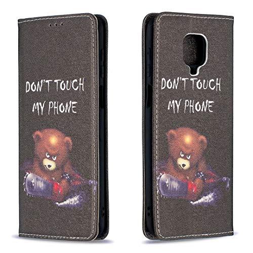Miagon Brieftasche Hülle für Xiaomi Redmi Note 9 Pro,Kreativ Gemalt Handytasche Case PU Leder Geldbörse mit Kartenfach Wallet Cover Klapphülle,Bär Sah