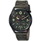AVI-8 Men's Lancaster Bomber Stainless Steel Japanese-Quartz Aviator Watch with Leather Calfskin Strap, Green, 22 (Model: AV-4050-04)